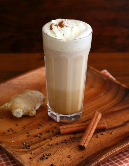 Sugar-Free Pumpkin Chai Latte with cinnamon and ginger