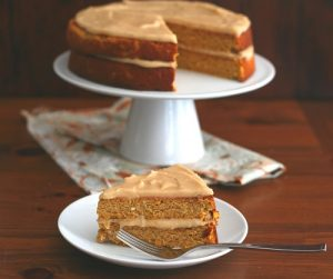 Low Carb Pumpkin Spice Cake with Brown Butter Frosting
