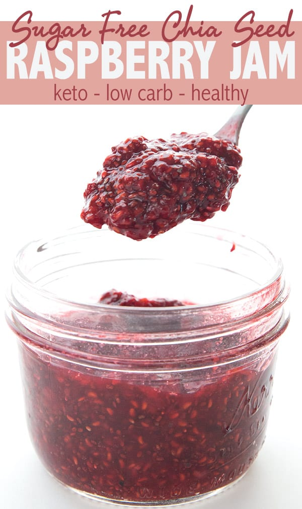 Delicious low carb chia seed jam with raspberries