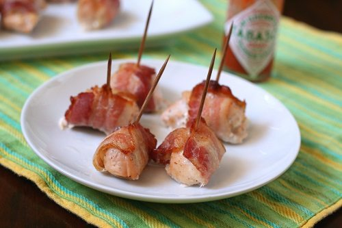 Tabasco Bacon-Wrapped Chicken Bites