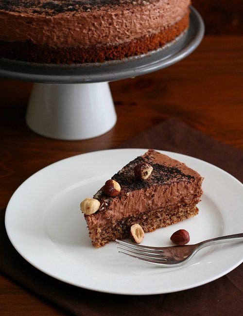 Chocolate Hazelnut Mousse Cake Slice