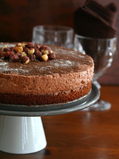 low carb chocolate hazelnut mousse on a layer of gluten-free hazelnut ...