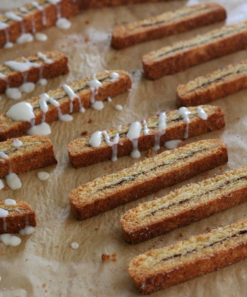 Low Carb Cinnamon Roll Biscotti with glaze