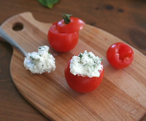 Goat Cheese, Garlic and Basil Stuffed Tomatoes