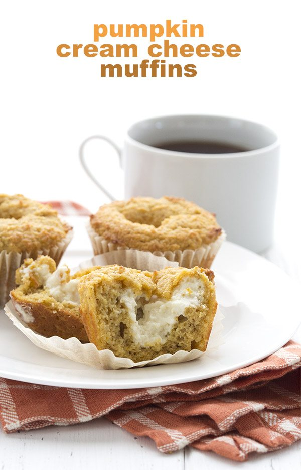 titled image (and shown): Pumpkin Cream Cheese Muffins (on a plate, next to a mug of coffee)