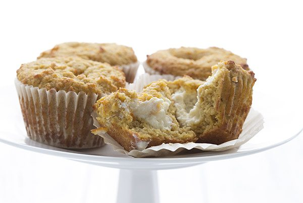 Gluten-free pumpkin muffins with a sugar-free cream cheese center