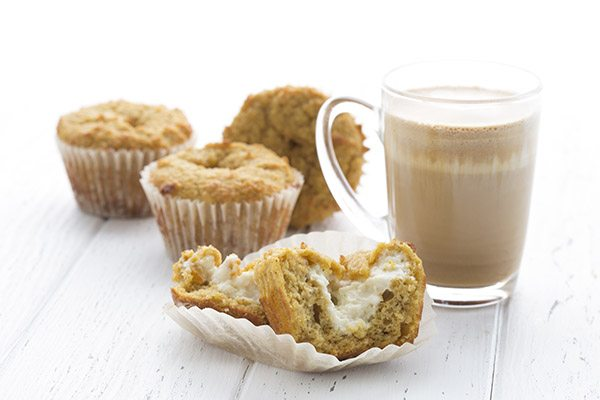 Keto pumpkin muffins with a sugar-free cream cheese center