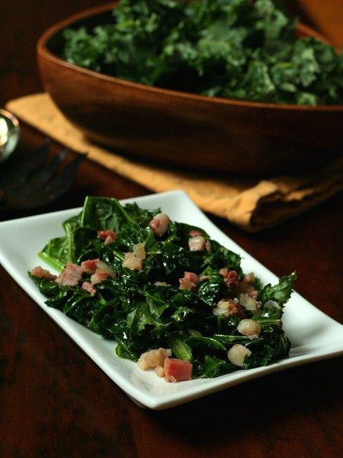 Spicy Kale with Pancetta and Onions Recipe