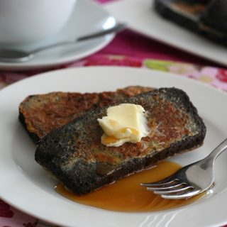 French Toast made with low carb chocolate pound cake