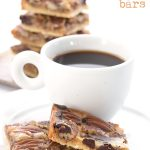 titled image (and shown) chocolate pecan pie bars - low carb