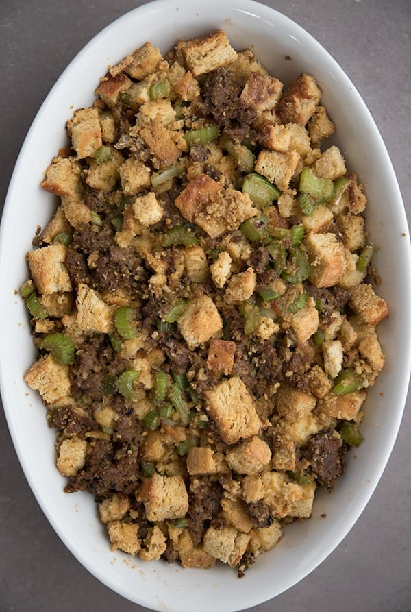 Top down photo of low carb sausage stuffing in a pan