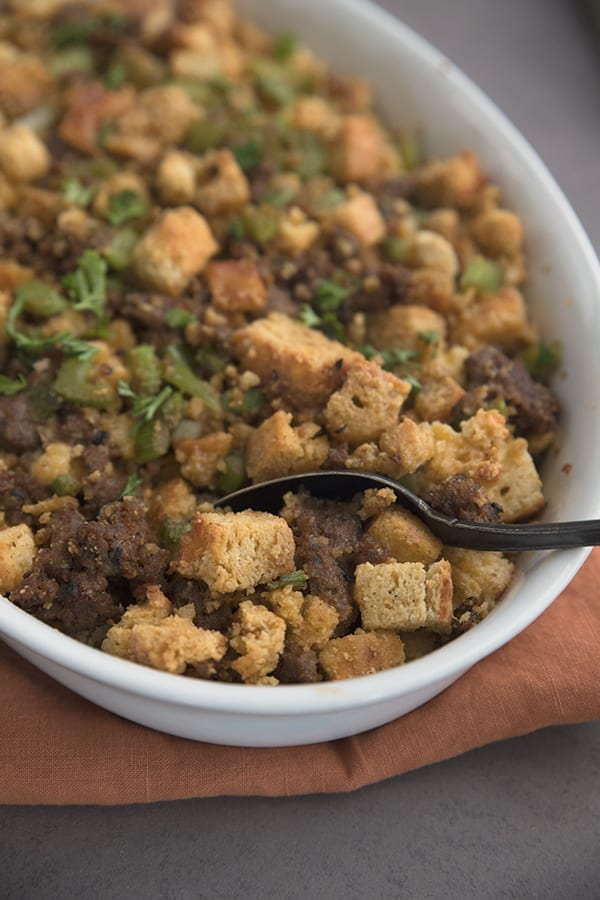 Up close of keto stuffing in a pan