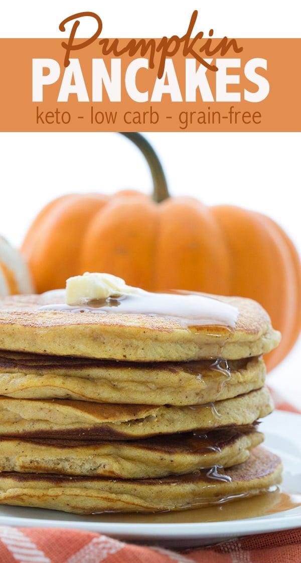 The best keto pumpkin pancake recipe. Light and fluffy and full of great flavour! A perfect low carb breakfast recipe. #lowcarb #ketorecipes #ketopancakes #easyketo #ketodiet #pumpkinpancakes #pumpkinrecipes #coconutflour