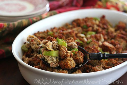 Spicy Sausage and Cheddar Stuffing 4