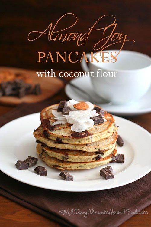 Low Carb Almond Joy Pancakes with Coconut Flour