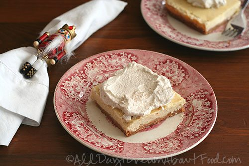 Gluten-Free Eggnog Cheesecake Bars