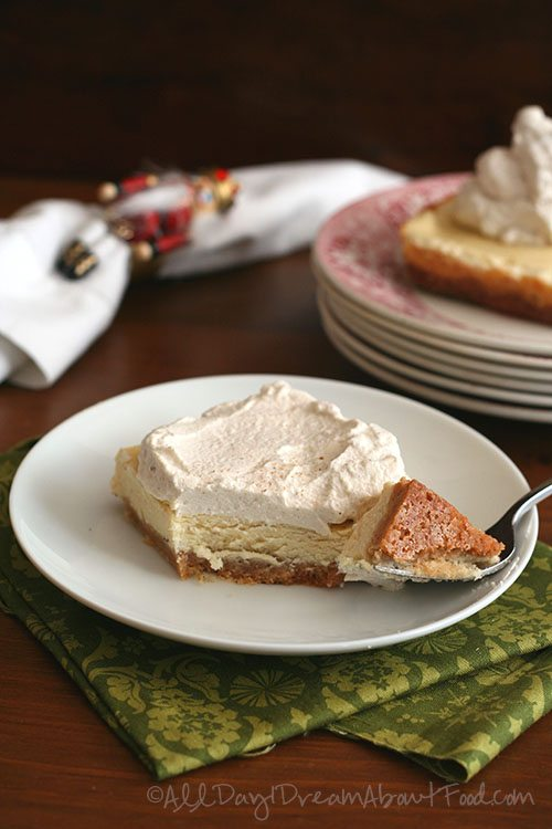 Low Carb Eggnog Cheesecake with Gingerbread Whipped Cream