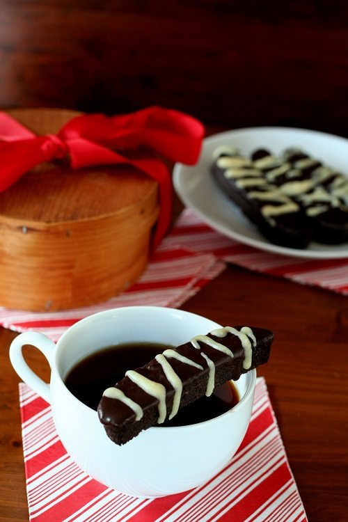 Low Carb Triple Chocolate Peppermint Biscotti