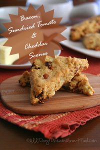 Low Carb Bacon, Sundried Tomato and Cheddar Scones