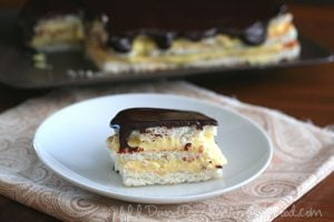 Chocolate Eclair Cake with gluten-free meringue layers