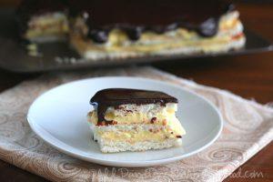 Chocolate Eclair Cake with gluten-free meringue layers