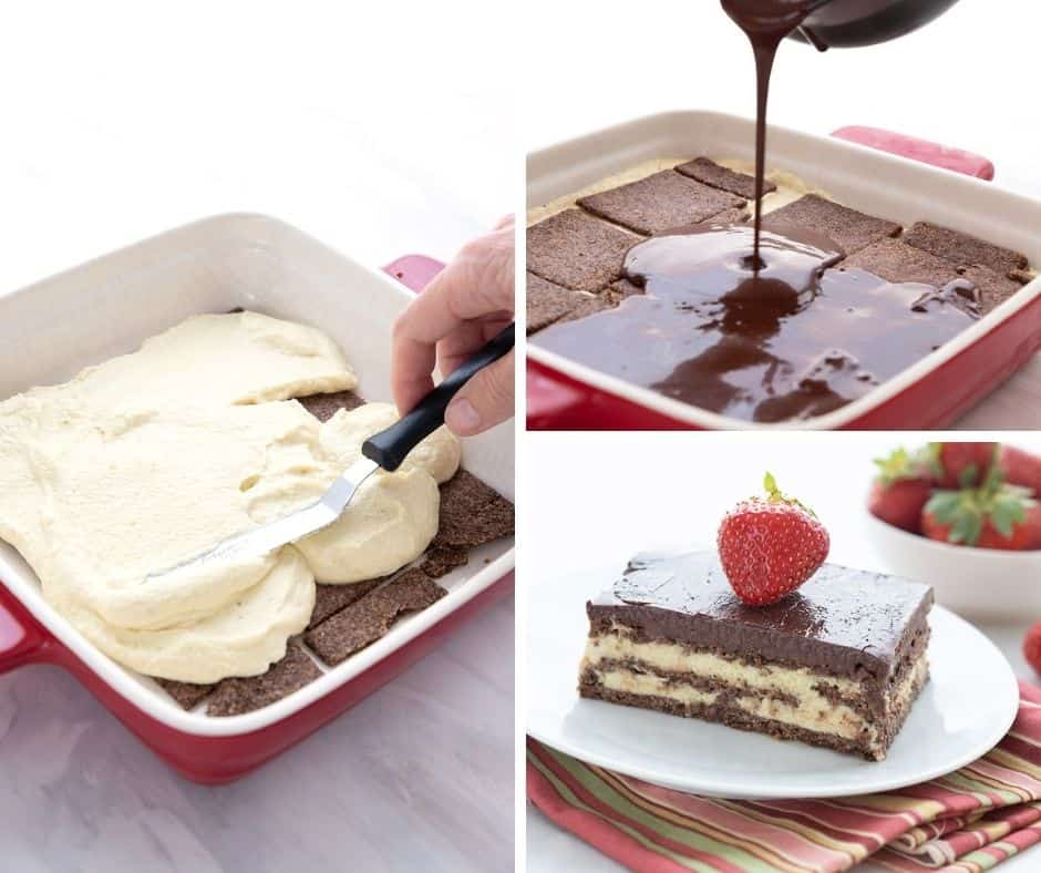 A collage of photos showing how to make keto chocolate eclair cake.