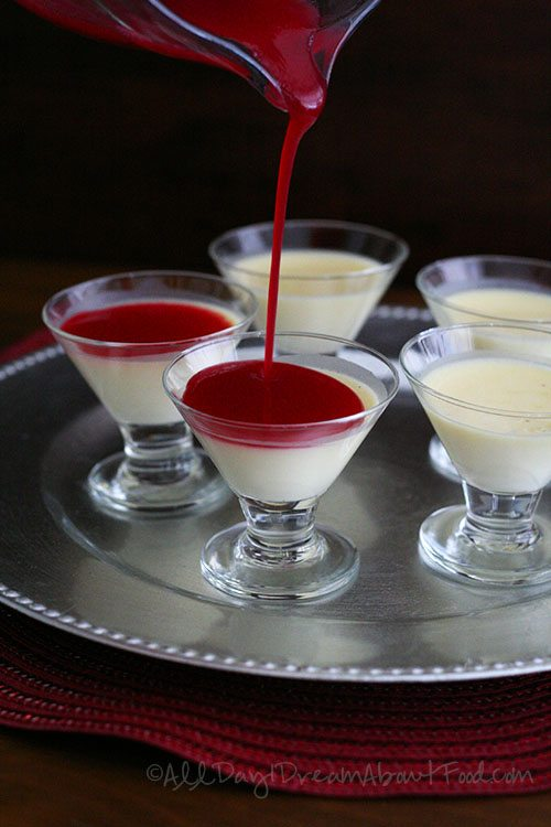 Low Carb Vanilla Bean Panna Cotta with Cranberry Coulis