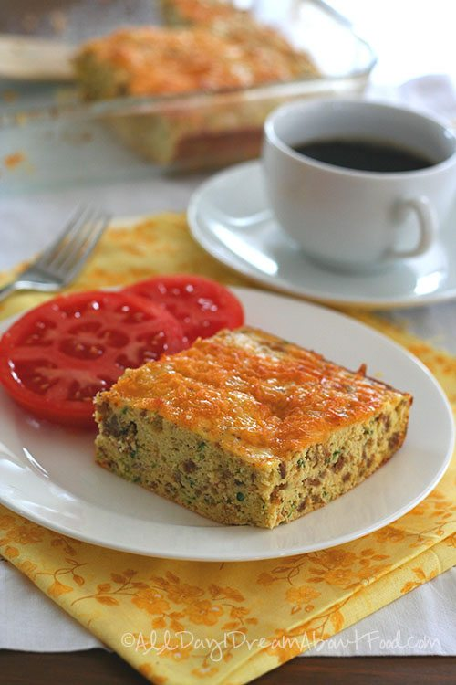 Low Carb Gluten-Free Zucchini Sausage Egg Breakfast Bake
