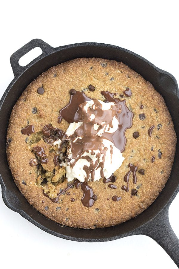grain-free skillet chocolate chip cookie with ice cream and sugar-free chocolate syrup