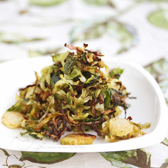 Healthy Brussels Sprout Chips with coconut oil