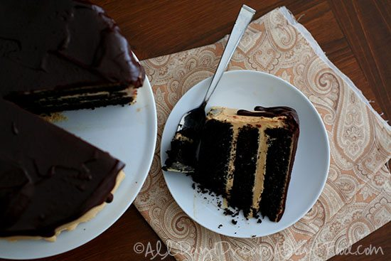 a slice of low carb chocolate cake with sugar free peanut butter frosting in between the layers