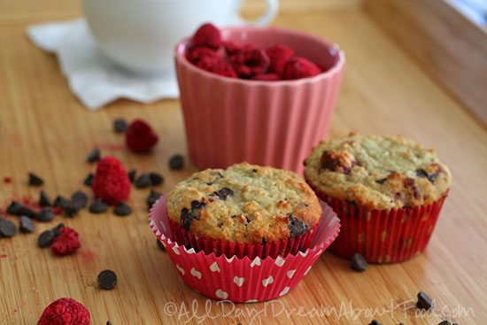 Low Carb Gluten Free Coconut Raspberry Chocolate Chip Muffins