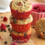 Low Carb Coconut Flour Muffins with raspberries and chocolate chips