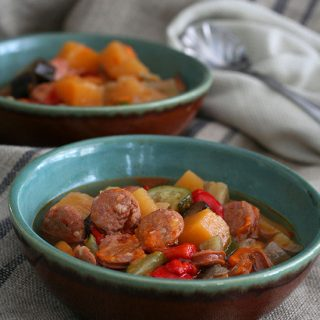 Low Carb Roasted Vegetable Chorizo Soup