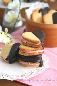 Chocolate Covered Strawberry Cream Sandwich Cookies