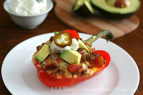 Low Carb Cowboy Chili Stuffed Peppers