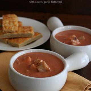 Spicy Tomato Barramundi Bisque and Cheesy Garlic Flatbread