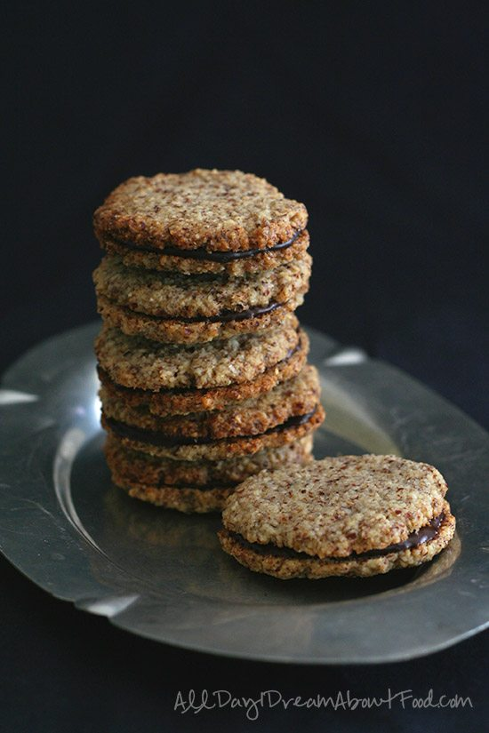 Grain Free Chocolate Hazelnut Sandwich Cookies