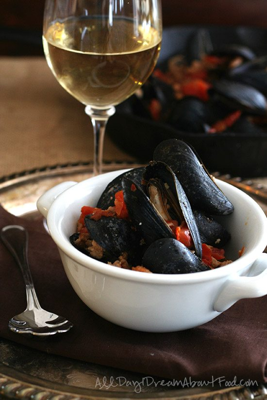 Spicy Mussels with Tomatoes and Chorizo