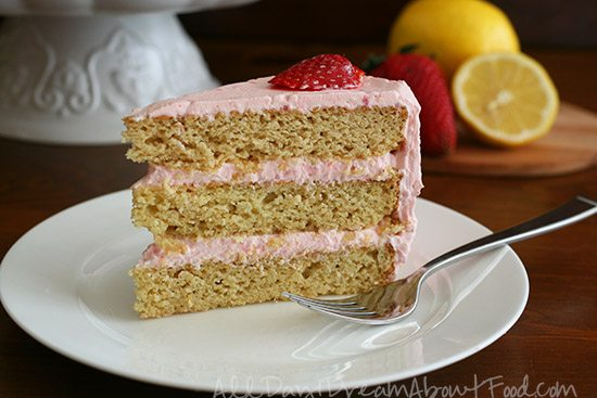 Low Carb Grain Free Layer Cake with Strawberry Frosting