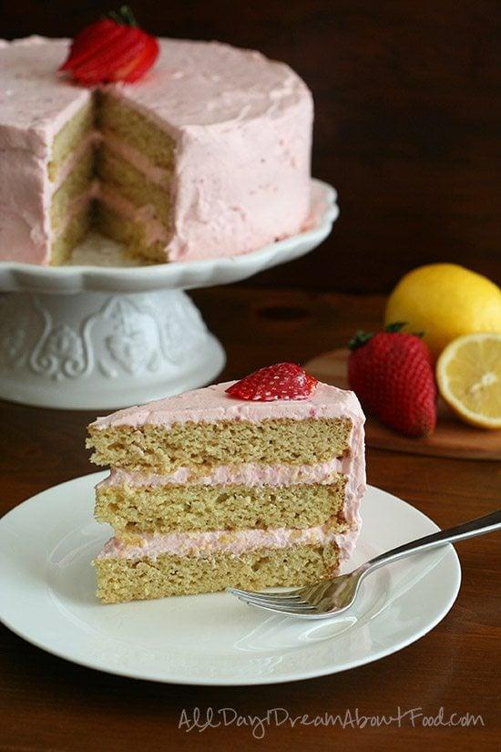 Low Carb Gluten-Free Strawberry Lemonade Cake