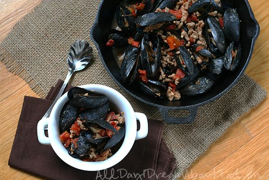 Mussels in Spicy Tomato Chorizo Broth