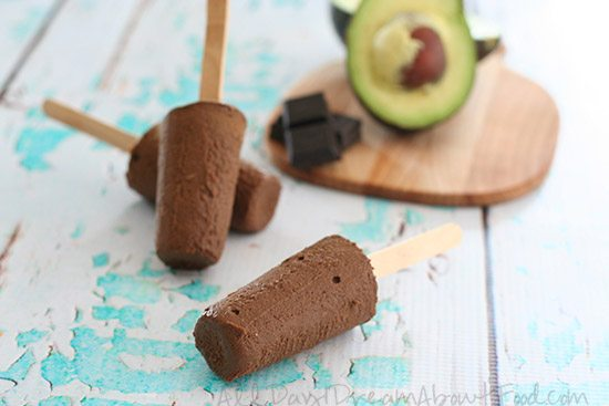 Sugar Free Chocolate Avocado Pudding Popsicles