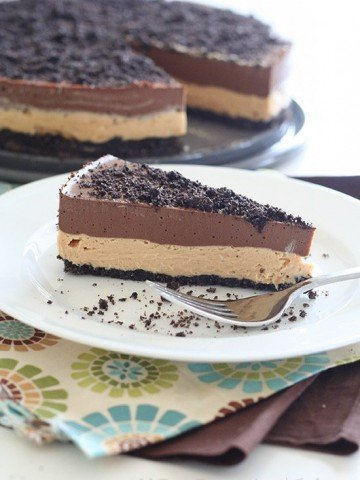 slice of Low Carb Chocolate Peanut Butter Dirt Cake