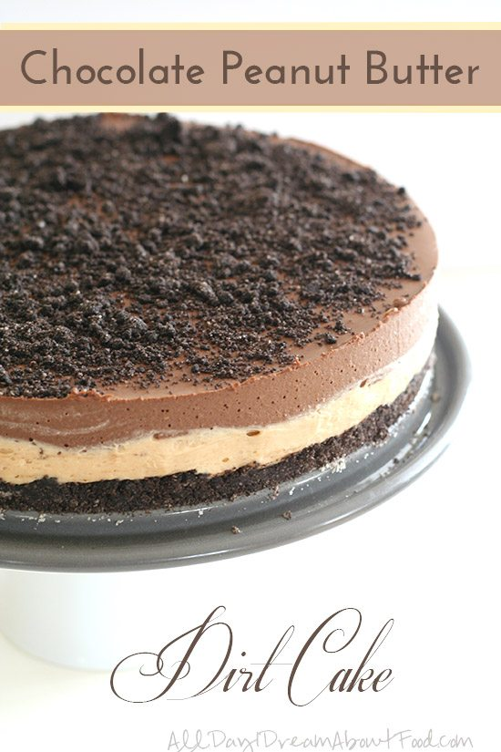 titled image - chocolate peanut butter dirt cake - a low carb chocolate dirt cake sits on a cake plate