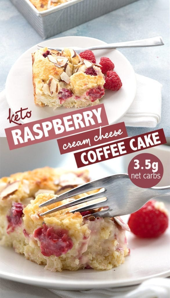 Delectable keto Raspberry Cream Cheese Coffee Cake