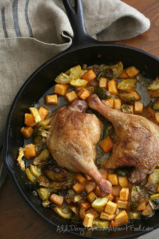 Low Carb Crispy Duck Legs with Braised Vegetables