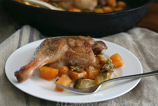 Low Carb Crispy Duck Legs with Rutabaga and Brussels Sprouts