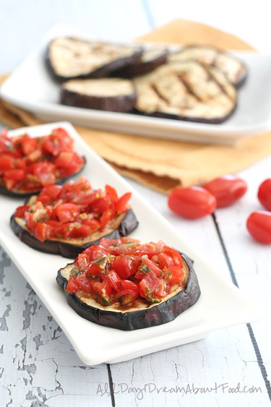 Paleo Grilled Eggplant Bruschetta