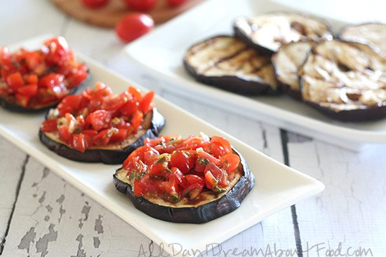 Low Carb Gluten-Free Grilled Eggplant Bruschetta